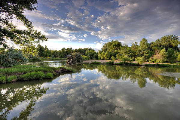 River Print featuring the photograph Reflection On The Poudre River by Shane Linke