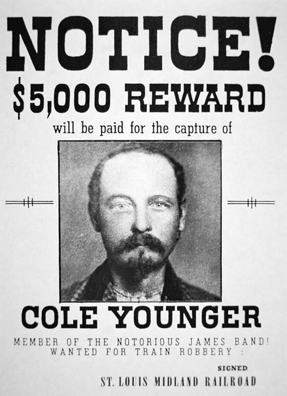 Confederate; Outlaw; James Younger Gang; Member; Mugshot; Criminal; Western; Wild West; Old West; Portrait; Male; Typography Print featuring the painting Reward Poster For Thomas Cole Younger by American School