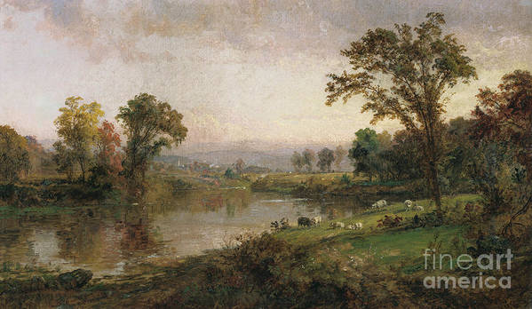 Riverscape - Early Autumn Print featuring the painting Riverscape In Early Autumn by Jasper Francis Cropsey
