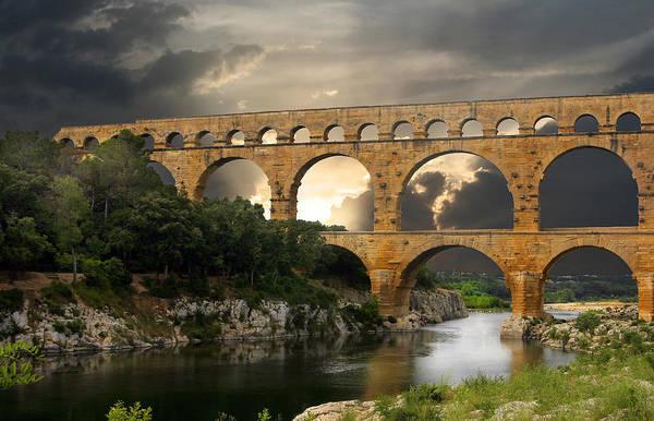 Bridge Print featuring the photograph Roman Pont Du Gard by Carver Kearney