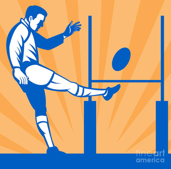 Illustration Print featuring the digital art Rugby Goal Kick by Aloysius Patrimonio