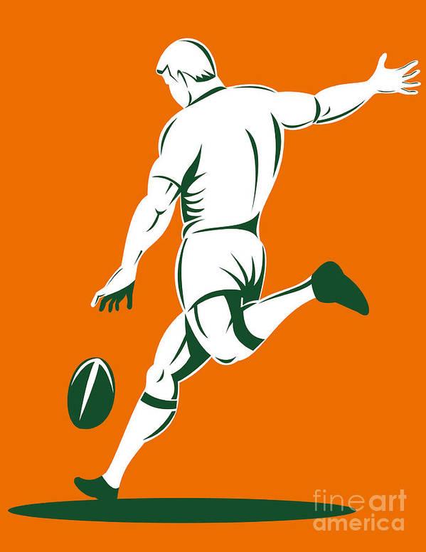 Illustration Print featuring the digital art Rugby Player Kicking by Aloysius Patrimonio