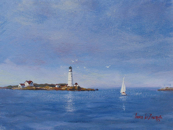Seascape Print featuring the painting Sailing To Boston Light by Laura Lee Zanghetti