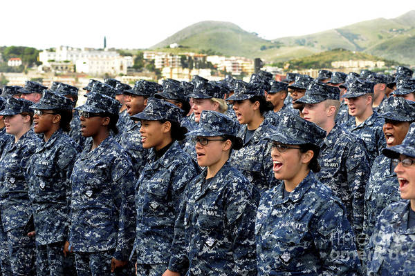 Ethnicity Print featuring the photograph Sailors Yell Before An All-hands Call by Stocktrek Images
