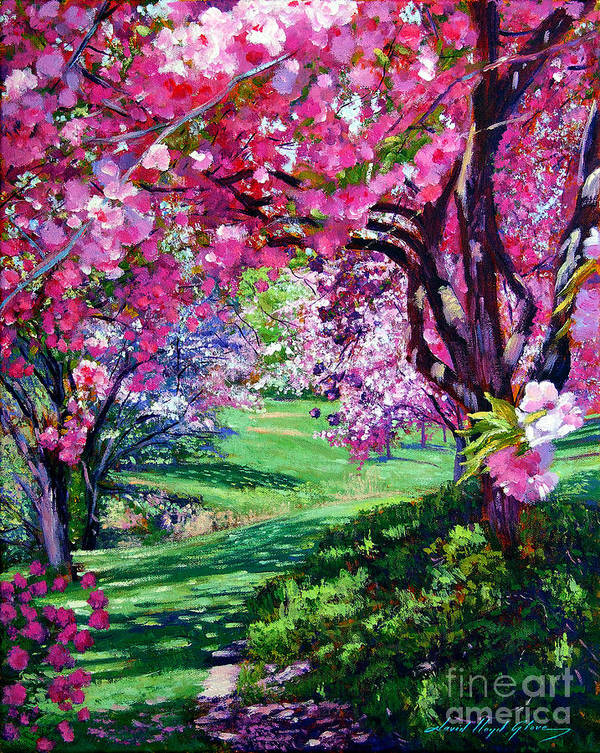 Cherry Blossoms Print featuring the painting Sakura Romance by David Lloyd Glover