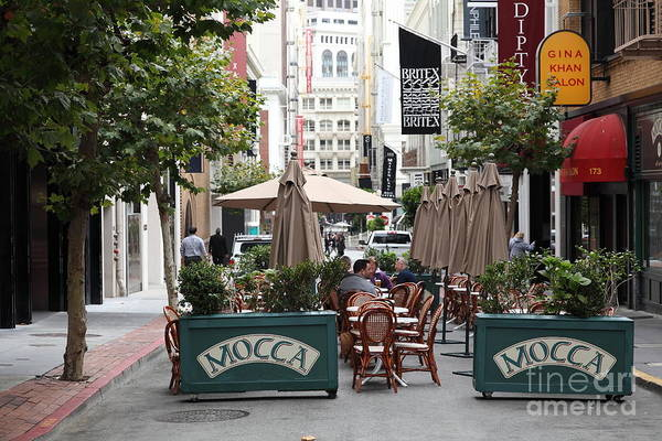 San Francisco Print featuring the photograph San Francisco - Maiden Lane - Outdoor Lunch At Mocca Cafe - 5d17932 by Wingsdomain Art and Photography