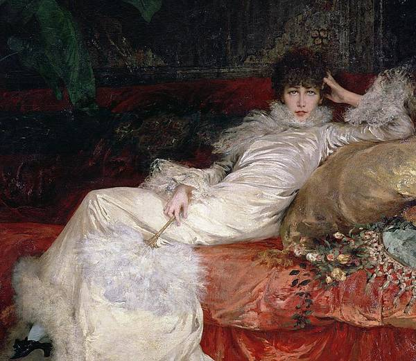 Sarah Bernhardt (1844-1923) 1876 (oil On Canvas) Print featuring the painting Sarah Bernhardt by Georges Clairin