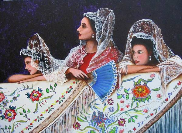 Beauty Again Print featuring the painting Sevilla's Ladies by Jorge Parellada