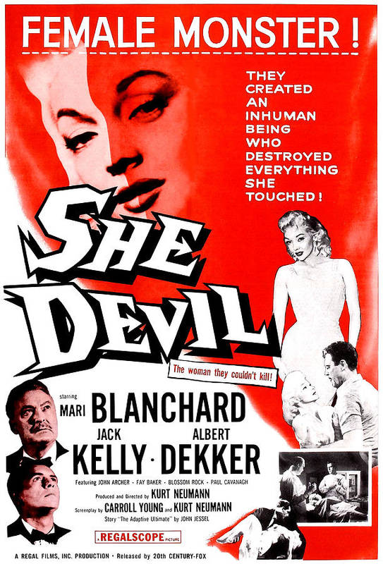 1950s Poster Art Print featuring the photograph She Devil, Blonde Woman Featured by Everett