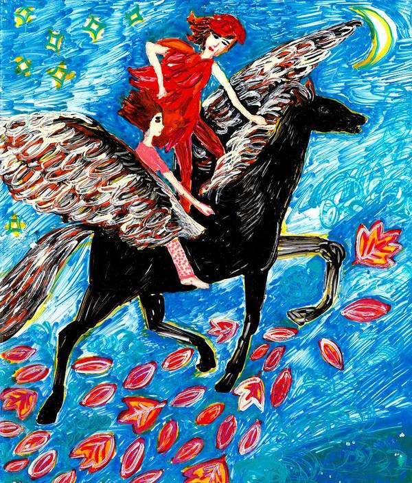 Sue Burgess Print featuring the painting She Flies With The West Wind by Sushila Burgess