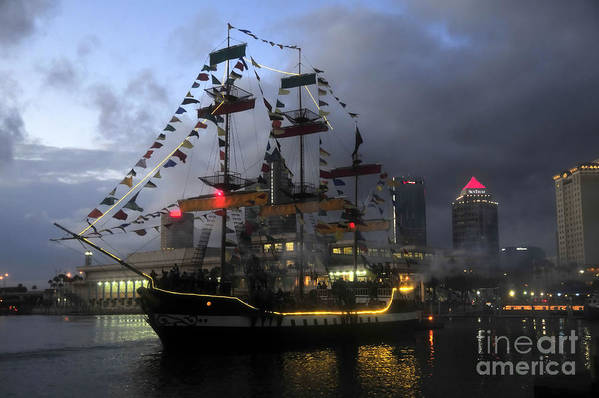 Tampa Bay Florida Print featuring the photograph Ship In The Bay by David Lee Thompson