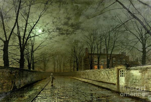 Silver Moonlight Print featuring the painting Silver Moonlight by John Atkinson Grimshaw