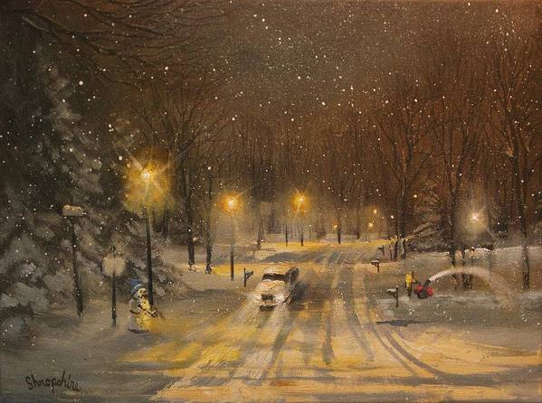 Christmas Lights Print featuring the painting Snow For Christmas by Tom Shropshire