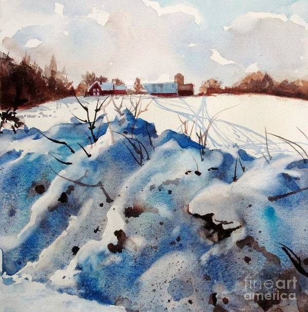 Snow Print featuring the painting Snow On Southwick I by Elizabeth Carr