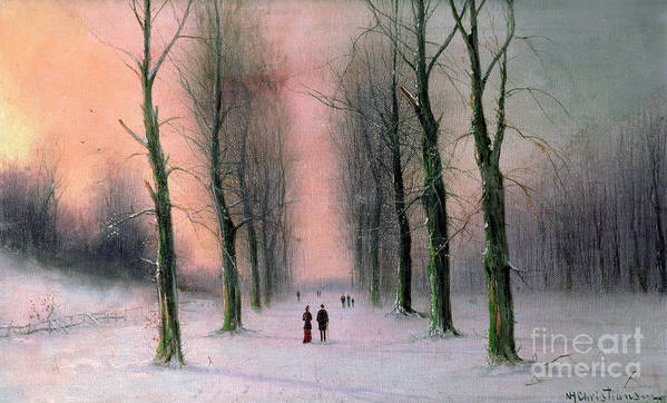Snow Print featuring the painting Snow Scene Wanstead Park  by Nils Hans Christiansen