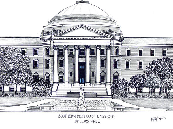Pen And Ink Drawings Print featuring the drawing Southern Methodist University by Frederic Kohli