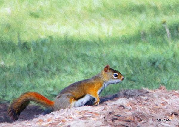 Squirrel Print featuring the painting Squirrel In The Park by Jeff Kolker