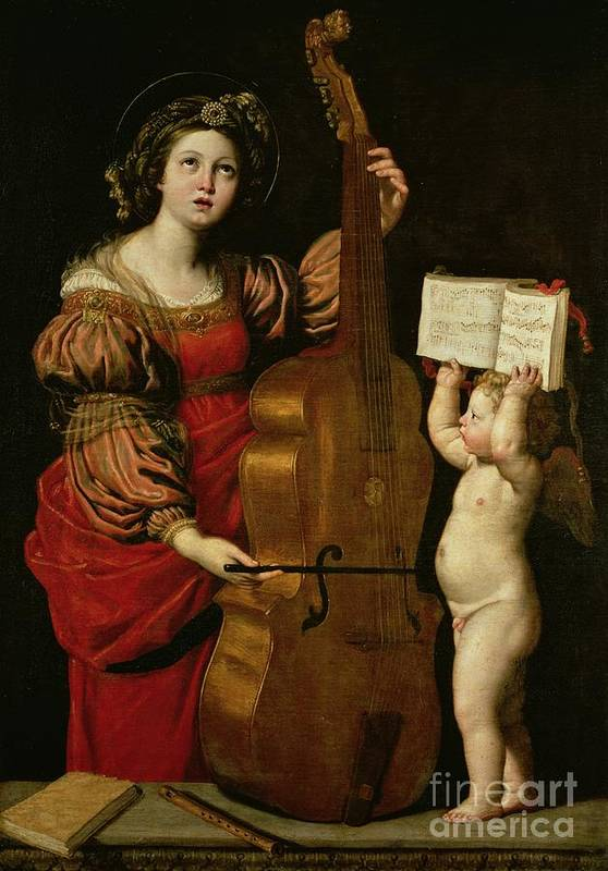St. Cecilia With An Angel Holding A Musical Score Print featuring the painting St. Cecilia With An Angel Holding A Musical Score by Domenichino