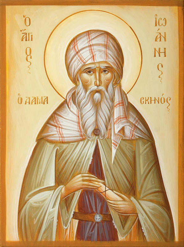 St John Of Damascus Print featuring the painting St John Of Damascus by Julia Bridget Hayes