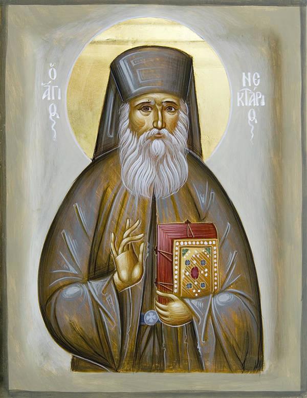 Icon Print featuring the painting St Nektarios Of Aigina by Julia Bridget Hayes