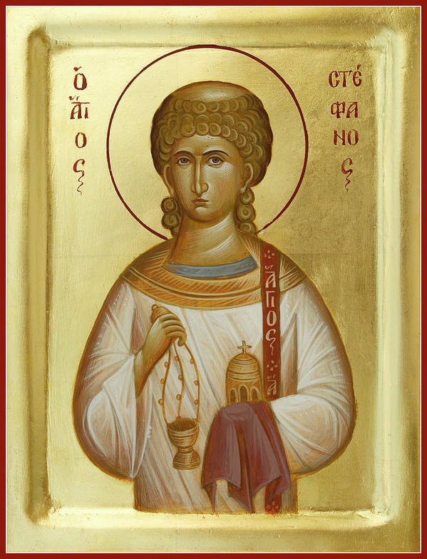 Saint Stephen Print featuring the painting St Stephen The First Martyr And Deacon by Julia Bridget Hayes
