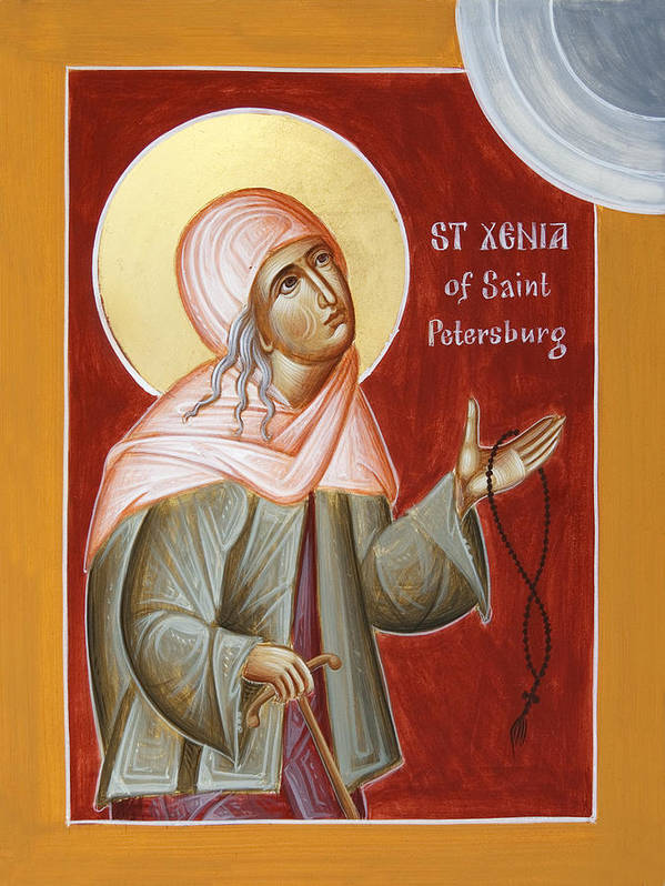 St Xenia Of St Petersburg Print featuring the painting St Xenia Of St Petersburg by Julia Bridget Hayes