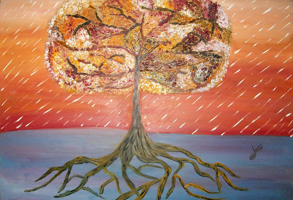 Oil Painting Print featuring the painting Standing In The Storm by Alexandra Torres