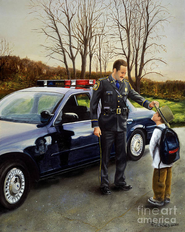 Police Officer Print featuring the painting Standing Tall by Paul Walsh