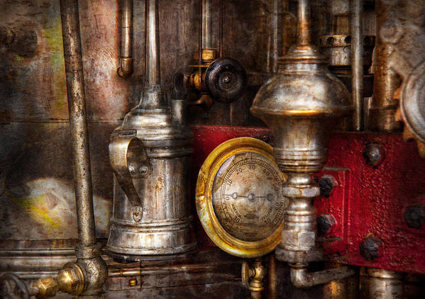Hdr Print featuring the photograph Steampunk - Needs Oil by Mike Savad