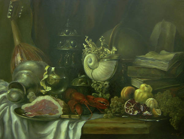 Armenian Print featuring the painting Still-life With A Lobster by Tigran Ghulyan
