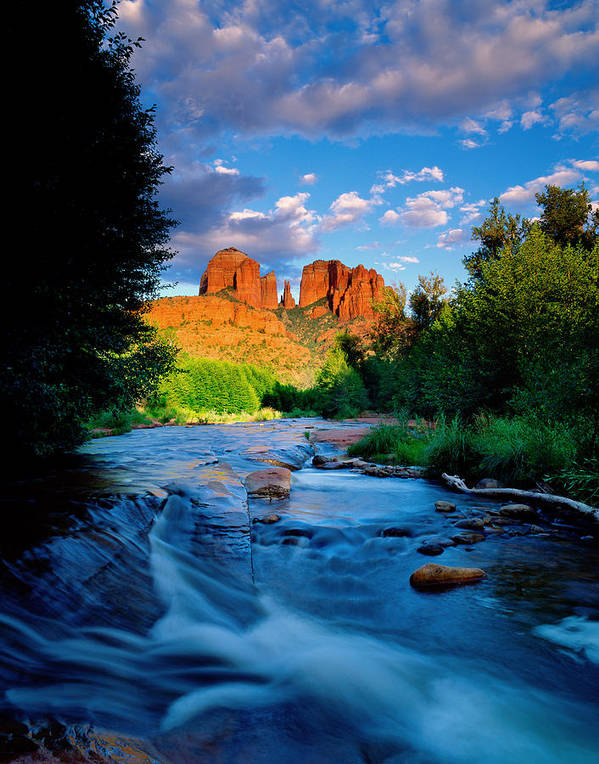 Stream Print featuring the photograph Stormlight On Red Rock Crossing by Kerrick James