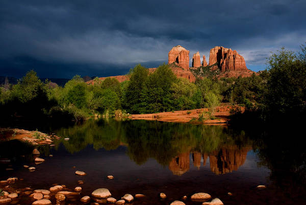 Cathedral Rock Print featuring the photograph Stormy Day At Cathedral Rock by David Sunfellow