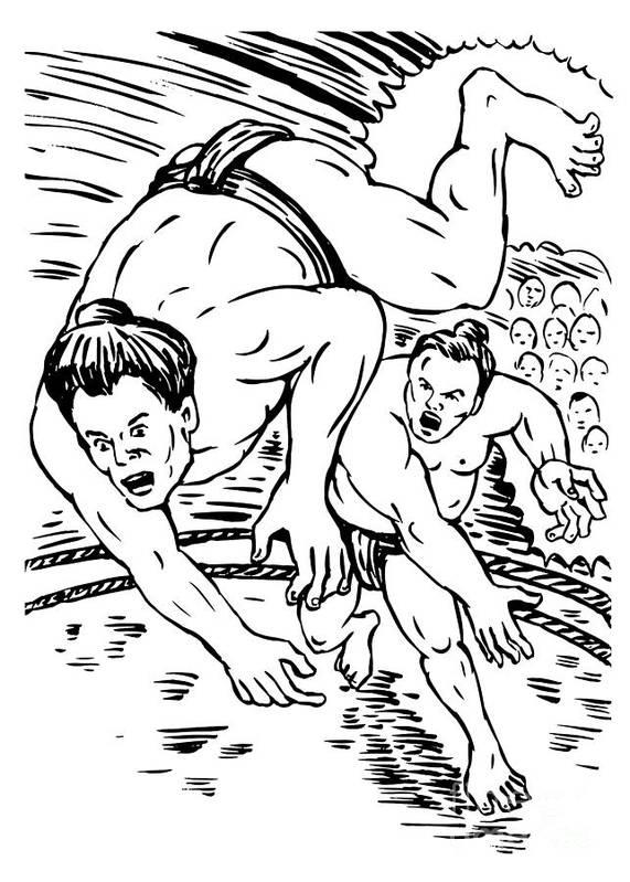 Illustration Print featuring the digital art Sumo Wrestlers by Aloysius Patrimonio