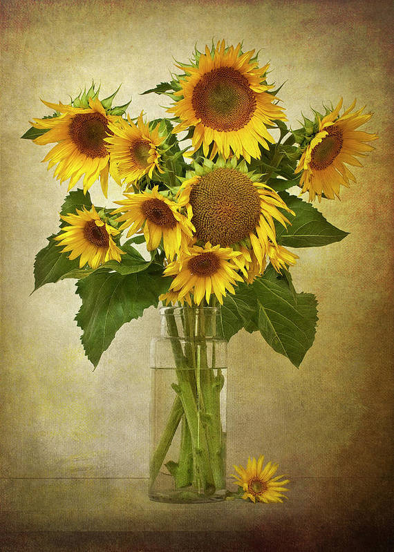 Vertical Print featuring the photograph Sunflowers In Vase by © Leslie Nicole Photographic Art