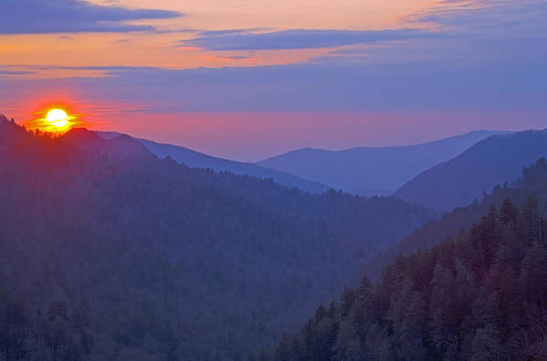 Sunset Print featuring the photograph Sunset In Great Smoky Mountain National Park Tennessee by Brendan Reals