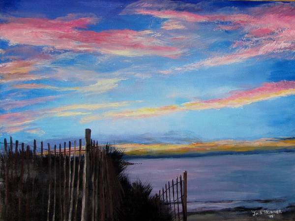 Sunset Print featuring the painting Sunset On Cape Cod Bay by Jack Skinner