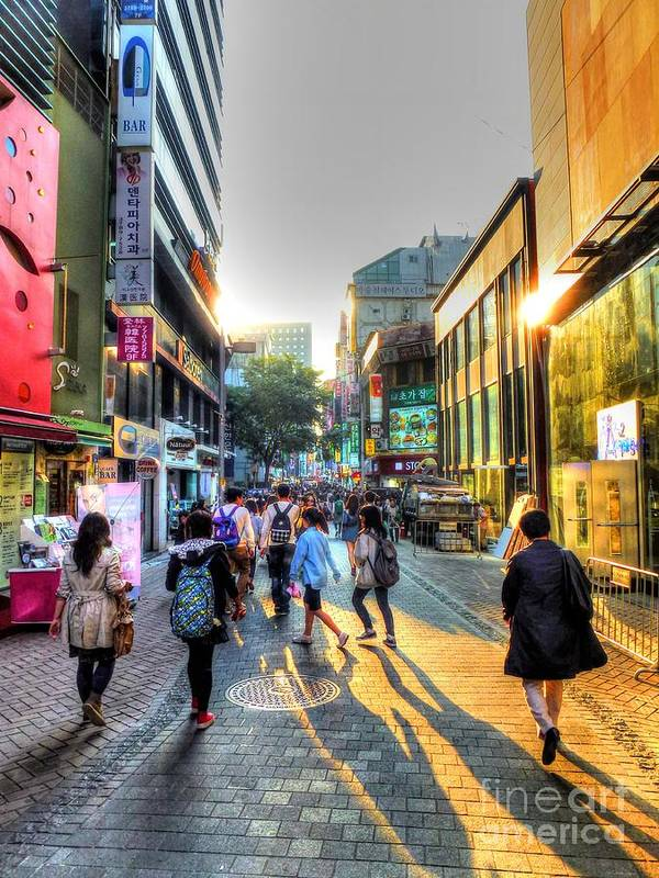 Seoul Print featuring the photograph Sunset On The Streets Of Seoul by Michael Garyet