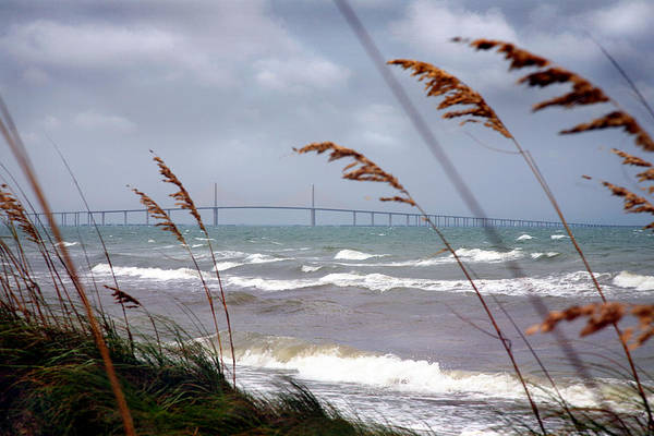 Sunshine Print featuring the photograph Sunshine Skyway Bridge Viewed From Fort De Soto Park by Mal Bray