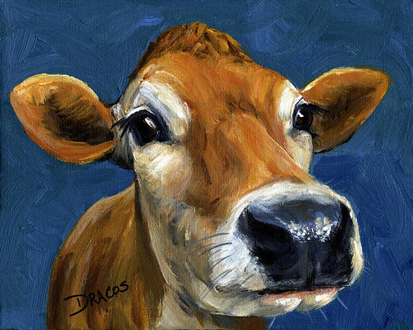 Jersey Cow Print featuring the painting Sweet Jersey Cow by Dottie Dracos