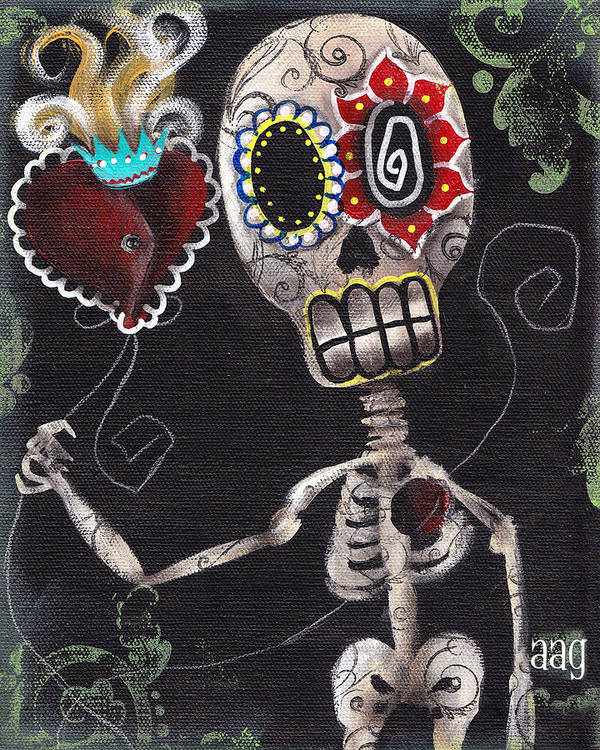 Day Of The Dead Print featuring the painting Take My Heart by Abril Andrade Griffith