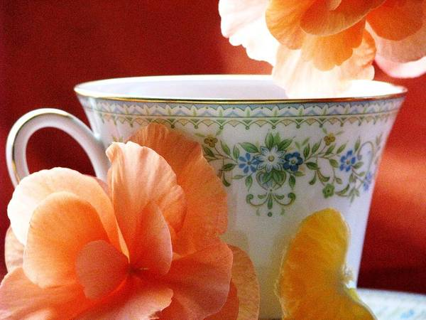 Tea Cups Print featuring the photograph Tea In The Garden by Angela Davies