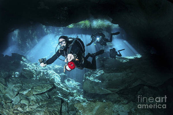 Chac Mool Print featuring the photograph Technical Divers Enter The Cavern by Karen Doody