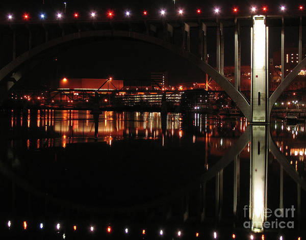 Tennessee Print featuring the photograph Tennessee River In Lights by Douglas Stucky