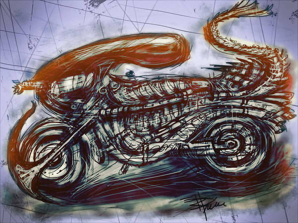 Motorcycle Print featuring the mixed media The Alien Bike by Russell Pierce