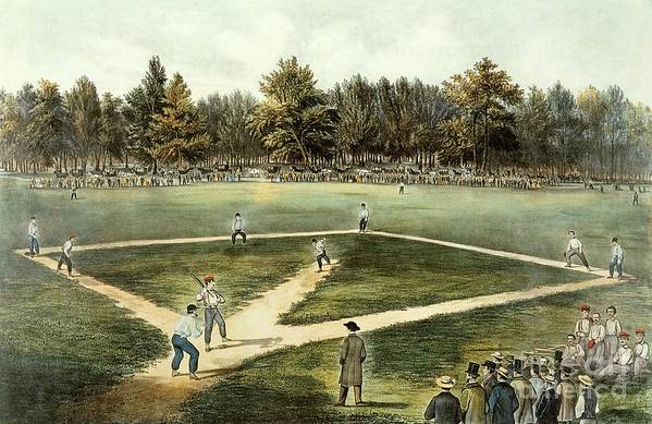 The Print featuring the painting The American National Game Of Baseball Grand Match At Elysian Fields by Currier and Ives