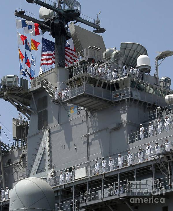 Color Image Print featuring the photograph The Amphibious Assault Ship Uss Boxer by Stocktrek Images