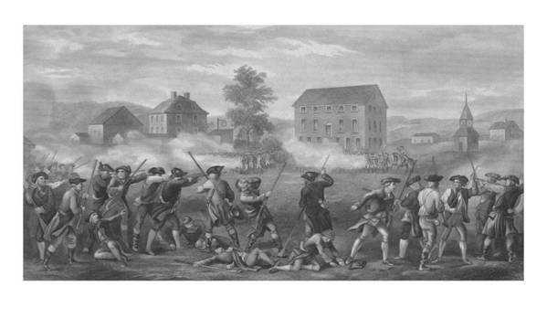 Minutemen Print featuring the drawing The Battle Of Lexington by War Is Hell Store