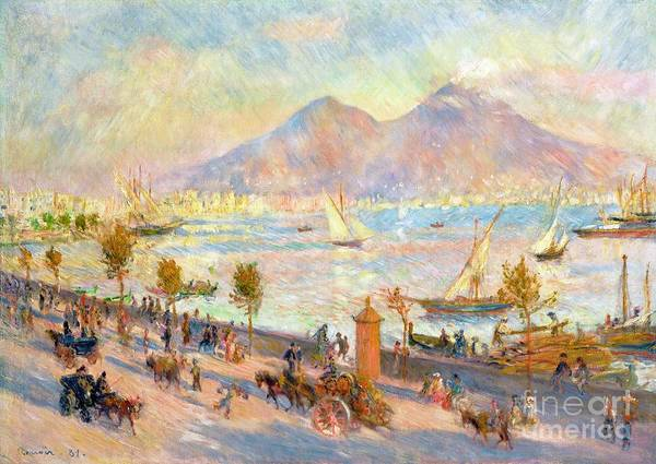 The Bay Of Naples With Vesuvius In The Background Print featuring the painting The Bay Of Naples With Vesuvius In The Background by Pierre Auguste Renoir