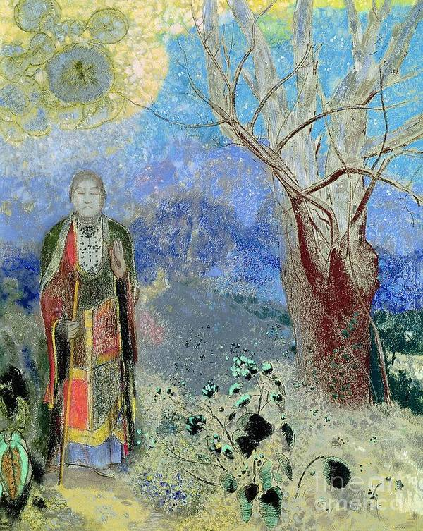 The Print featuring the painting The Buddha by Odilon Redon