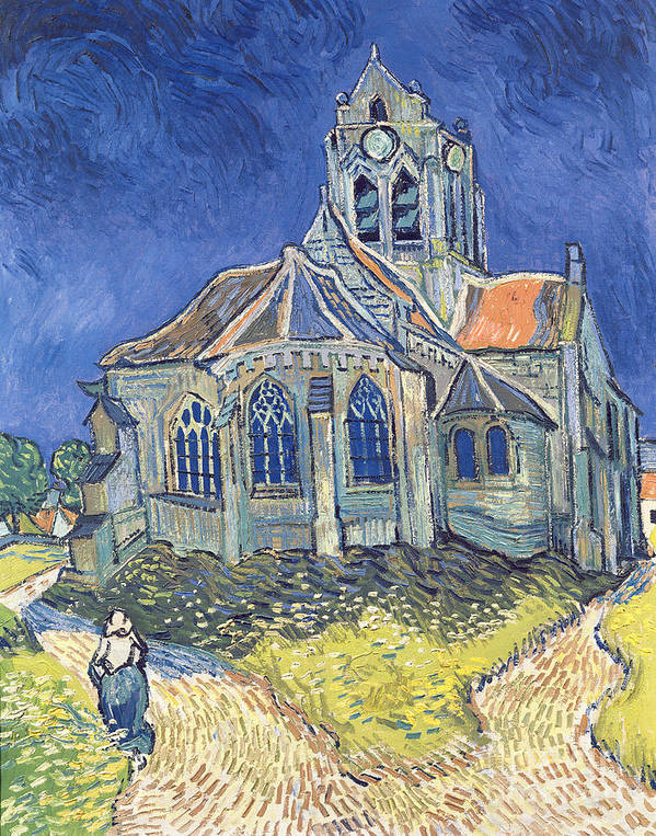 The Print featuring the painting The Church At Auvers Sur Oise by Vincent Van Gogh